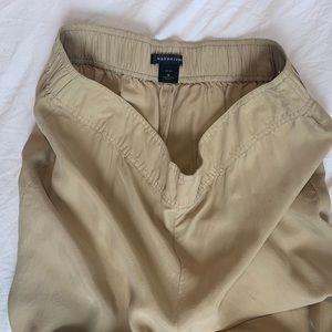 Pants - Natorious Beige Silk Wide Leg Trousers